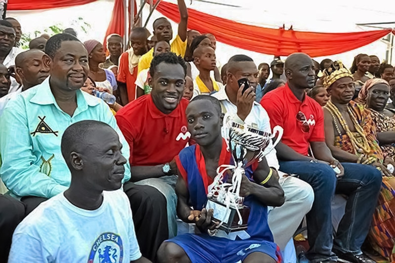 Michael Essien promotes football and charity in his hometown.